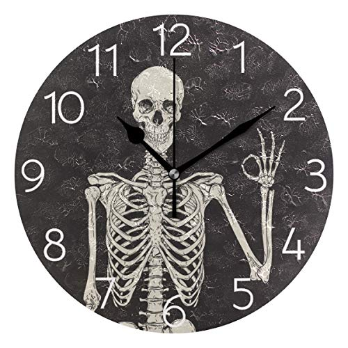 MOYYO Gothic Style Human Skeleton Wall Clock 9.8 Inch Silent Round Wall Clock Battery Operated Non Ticking Creative Decorative Clock for Kids Living Room Bedroom Office Kitchen Home Decor