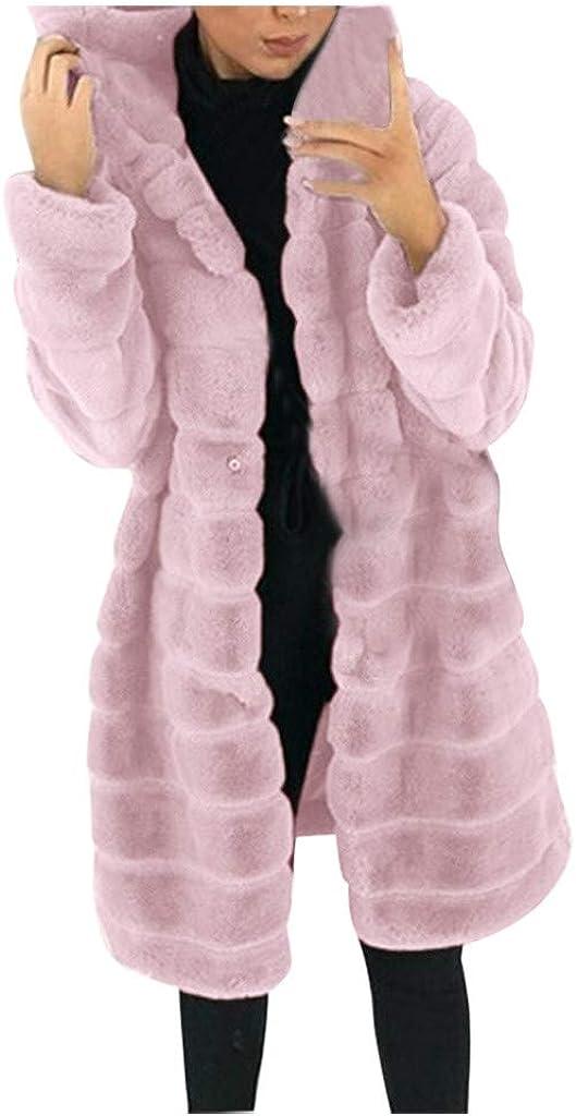 FORUU Womens Winter Coat Faux-Fur' Gilet Jacket Hooded Plus Size Waistcoat Long Sleeve Body Warmer Outwear Lady Girl