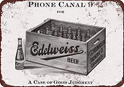 Odeletqweenry Metal Sign, Blik Sign, 1912 Edelweiss Bier Vintage Look Reproductie Metalen Blik Teken 12X18 Inches