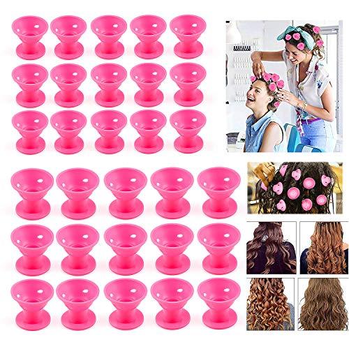 ZWOOS Lockenwickler über Nacht, 30 Stück Silikon Lockenwickler, Lockenwickler ohne Hitze, Silikon Magic DIY Rollen Hair Styling, 2 Größe(Rosa)