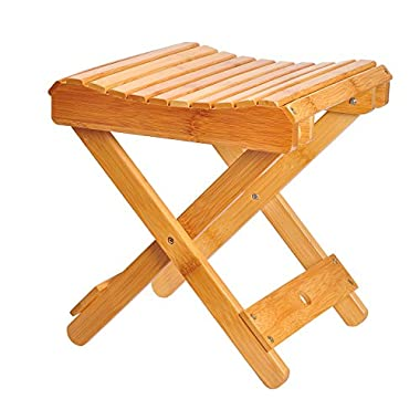 Ecrocy Bamboo Folding Stool for Shaving & Shower Foot Rest - Fully Assembled - 12  Height