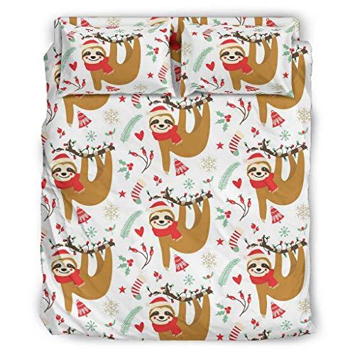 Xuanwuyi 4-teiliges Bettwäscheset mit Weihnachtsmotiv, ultraweiche Mikrofaser, für Jugendliche, für Studentenwohnheimzimmer, weiß, 203 x 230 cm