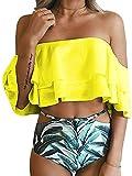Imily Bela Women's Bikini Ruffle Off Shoulder Top & Floral Shorts Swimsuit Bathing Suit 2pc Sets (X-Large, Black)