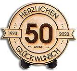 DARO Design - Holzscheibe graviert - 50 Jahre - Größe 20cm- Geschenk zum Jubiläum, 50 Geburtstag,...