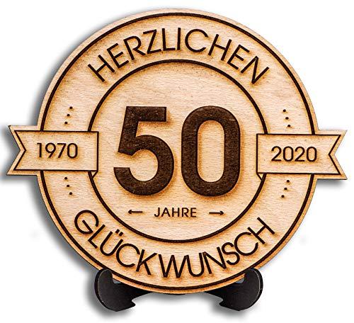 DARO Design - Holzscheibe graviert - 50 Jahre - Größe 20cm- Geschenk zum Jubiläum, 50 Geburtstag, Jahrestag - Herzlichen Glückwunsch