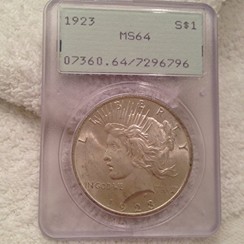 1923 PEACE SILVER DOLLAR $1 MS64 PCGS