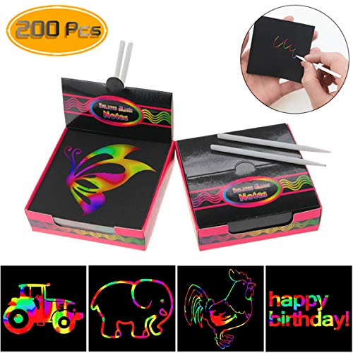 """Acmer 200 Pcs Arts and Crafts for Girls Kids Ages 4-8 Travel Activities for Kids Crafts Rainbow Scratch Paper 3.3"""" x 3.3"""""""