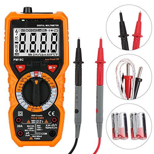 Hengda Multimeter Digital True RMS 20A 6000 Counts Temperaturmessung, Außenleiter-Identifizierung, Durchgangsprüfung, mit LCD-Anzeige, Hintergrundlicht