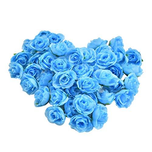YOTINO 50 Stück Künstliche Blumenköpfe Künstliche Blütenköpfe Blumen Köpfe Rosenköpfe Rosen Kopf Kunstblumen für Hochzeit Party Deko DIY-Hellblau