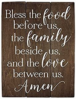 Elegant Signs Bless The Food Before us Sign Wood Sign Kitchen Wall Decor Wood Kitchen Sign (13 x 20 inch)