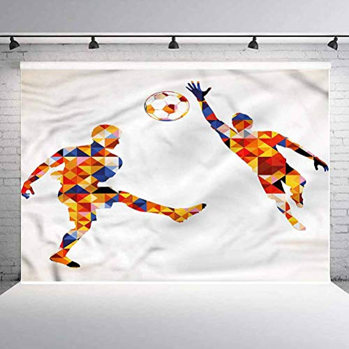 10x10FT Vinyl Photo Backdrops,Sports,Colorful Footballers Background Newborn Birthday Party Banner Photo Shoot Booth