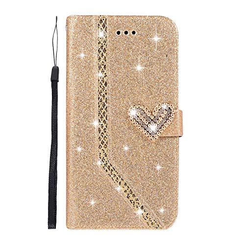 Homikon PU Leder Hülle Schön Bling Glänzend Glitzer Diamant Liebe Schutzhülle Brieftasche Lederhülle Bookstyle Handyhülle Magnetverschluss Tasche Kompatibel mit Samsung Galaxy J4 Plus 2018 - Gold
