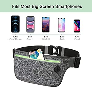 TechRise Running Belt Waist Pack, Ultra Slim Water Resistant Runners Belt Fanny Pack for Hiking Fitness, Workout Exercise Adjustable Running Pouch Waist Bag for All Kinds of Phones