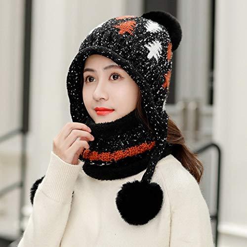 Miada fantastische vrouwen gebreide hoed sjaal set winter warm dikker haak Bobble Pom Pom Beanie hoed Outdoor Ski Hemming hoeden met fleece