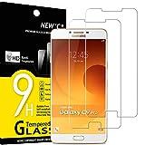 NEW'C 2 Unidades, Protector de Pantalla para Samsung Galaxy C9 Pro C9000, Antiarañazos, Antihuellas, Sin Burbujas, Dureza 9H, 0.33 mm Ultra Transparente, Vidrio Templado Ultra Resistente