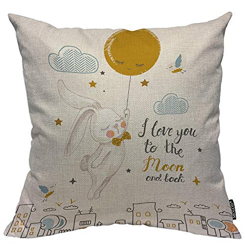 Mugod Rabbit Decorative Pillow Case I Love You to The Moon and Back Cute Bunny Flying to The Moon Throw Pillow Cover Home Decor Cotton Linen Square Cushion Cover for Couch Bed Sofa 20X20 Inch