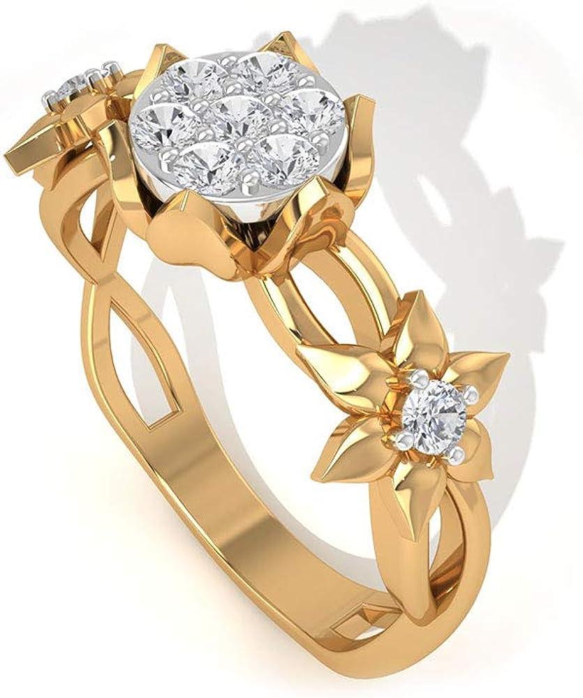 2 MM Moissanite Cluster Super sale Max 76% OFF Ring Floral Engagement Anniv Gold