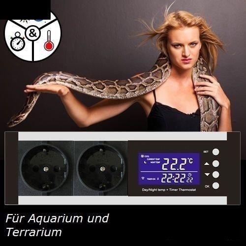 OCS.tec Digitaler Thermostat Thermoregler Temperaturregler Controller Zeitschaltuhr Alarm Heiz-/Kühlsteuerung Reptilien Terrarium TMT-100 Pro TX1