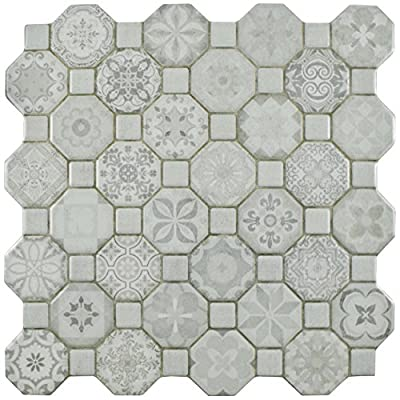 "SomerTile FOSTESWT Abacu Ceramic Floor & Wall Tile, 12.25"" x 12.25"", White,,, White, Grey"