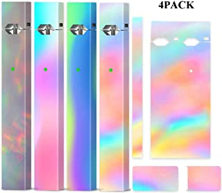 4 Pack Rainbow Skin Wrap Decal Case for Juul and Charger, Friction Feeling Scratch-proof Sleeve Shield Cover Case Cap Decal, Accessories Fit for JUUL (No Device Included, Contain Charge Cover)