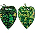 KZHAREEN 2 Pack St. Patrick's Day Dog Bandana Reversible Triangle Bibs Scarf Accessories for Dogs Cats Pets Animals