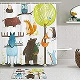 AYISTELU Duschvorhang Sets mit rutschfesten Teppichen,Tiere im Wald-Cartoon-Stil wie Bärenhirsch-Fuchs-Eulen-Schwein-Maus-Eichhörnchen & Kaninchen, Badematte + Duschvorhang mit 12 Haken