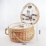 YRHH Cesta De Picnic Impermeable para Acampar Willow, Cesta De Picnic En Forma De Corazón, Cesta De Mimbre De Mimbre con Forro Blanco, Diseño Plegable De Doble Asa