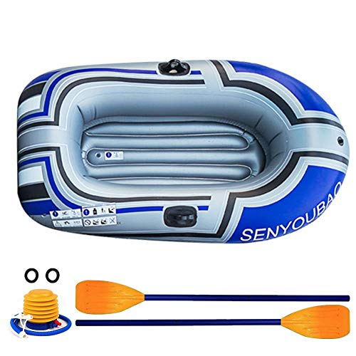 Chalkalon Aufblasbares Boot verdickt Aufblasbares Kajak 2 Personen (1 Erwachsener + 1 Kind) Schlauchboot mit Paddel und Pumpe