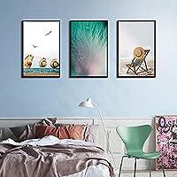 ZNLEY.O キャンバス絵画材の海岸の風景モダンなスタイル長方形の背景ポスターリビングルームの壁アート装飾的な絵画 (Farbe : 2, Größe (Inch) : 50x70cm No Frame)