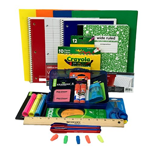 Combined Elementary School Supply Pack for Boys 26 Pieces , Kindergarten, 1st, 2nd, 3rd, 4th, 5th and 6th Grades