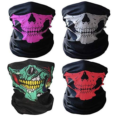 4 Pack Skull Face Bandana Cover Half Seamless UV Sun Headwear Neck Scarf Dust