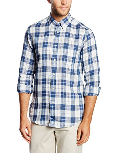 Brooks Brothers Sport Shirt Indigo Linen Chemise, Bleu, 48(Small) Homme
