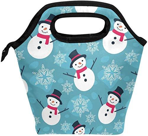 Bolsa de almuerzo, lindo muñeco de nieve navideño con copo de nieve, enfriador aislado, lonchera de hielo, bolso de mano para hombres, mujeres, niños, adultos, niños, niñas