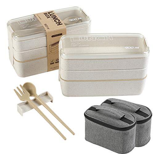 YCOCO 2 cajas de almuerzo con bolsas de aislamiento, 3 en 1 compartimiento con cuchara y tenedor, pajita de trigo, a prueba de fugas, ecológica, contenedores de preparación para comidas, color beige.