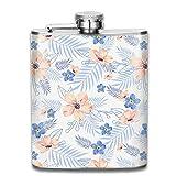 Frasco de Alcohol Presock, White Chalk Peach Blue Flowers 304 Food Grade Stainless Steel Flask 7 Oz Best Birthday Gift Present for Women Men