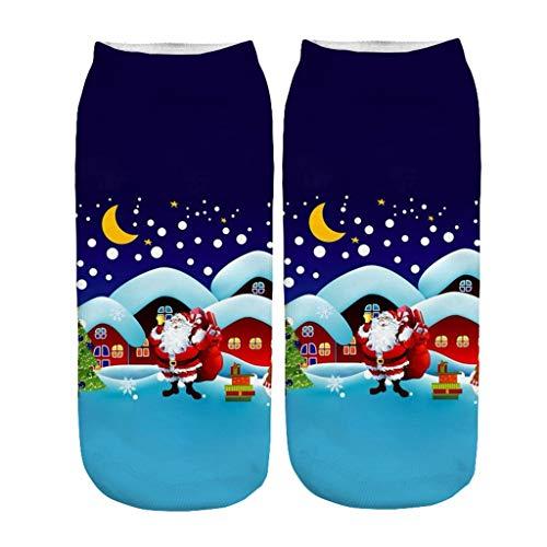 LOPILY Weihnachtssocken mit Lustig Weihnachtsmotiven Druck Santa Weihnachten Kurze Socken Hässliche Weihnachtsstrumpfen 3D Optiken Weihnachtsmann Kostüme (Mehrfarbig,)