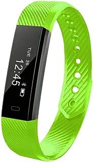 IF.HLMF - Pulsera Inteligente con Monitor de frecuencia cardíaca, recordatorio de Pasos y sueño, Color Rosa Claro, Color Verde