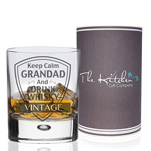 Whisky Glass - Keep Calm Grandad and Drink Whisky Tumbler - Gift Boxed (Grandad)