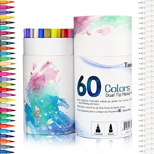 60 Colors Calligraphy Brush Marker Pens Dual Tip Pastel Colored Bullet Journal Pen Fine Point 0.4 Blending Markers