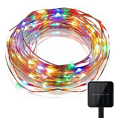 KEEDA LED Solar Lichterketten,(10M 100er 8 Modus), LED Kupferdraht Lichterketten, Wasserdichte Sternen Beleuchtung, Dekorative Lichter, Weihnachtsbeleuchtung, Außenbeleuchtung (Multi)