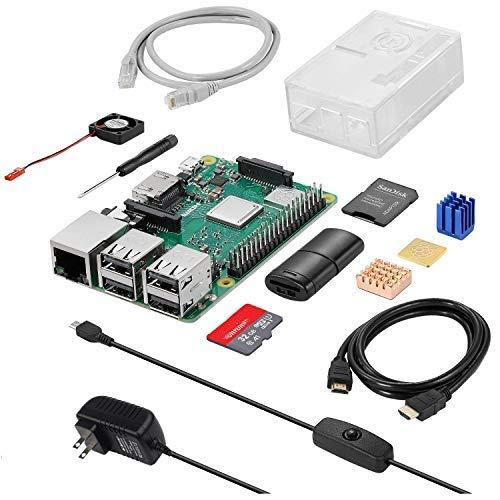 Sanoov Raspberry Pi 3 Model b+ ラズベリーパイ3b+ 32GB microSDカード/5V/3A スイッチ付き電源/高品質HDMIケーブル/MicroSDHCカード32GB/CAT6ネットケーブル/DCブラシレス冷却ファン/ドライバー/ラズパイ専用ケース/カードリーダ 日本語取扱説明書/1年保証