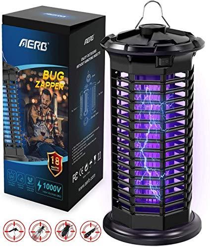 Aerb Lámpara Antimosquitos, LED Mosquito Lámpara Trampa, 10W de Luz UV, 1000V Potencia de Alto Voltaje, Matar Mosquitos, Moscas, Polillas, Hogar, para 400 sq ft