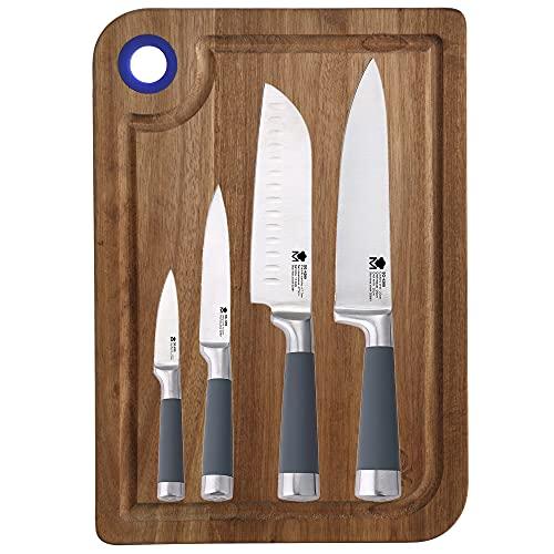 Set 4 cuchillos de cocina SAN IGNACIO Masterpro, acero inoxidable, con tabla de cortar en madera de acacia azul rainbow 33x23x1,5 cm Casa Benetton
