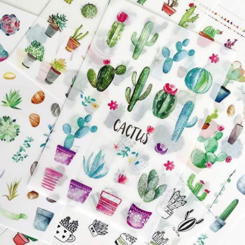 PMSMT 6 Hojas/Paquete Cactus Verde PVC Pegatinas álbum Decorativo Diario Mano Cuenta decoración