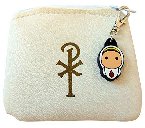 JWG Industries Chi Rho Rosenkranztasche, mit Aufschrift Our Lady of Fatima, Weiß