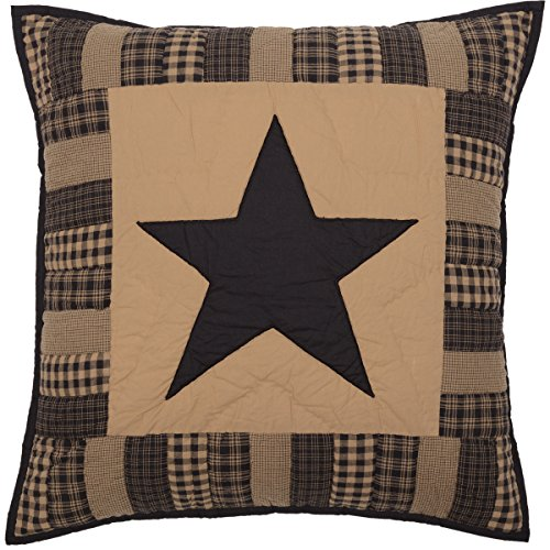 VHC Brands Primitive Bedding Black Check Star Quilted Euro Sham