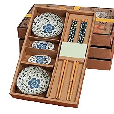 Funwill Ceramics Sushi Eating Saucer Set Dipping Saucers 2-Person 8 Pieces in Gift Box (Blue flowers)
