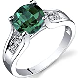14K White Gold Created Emerald Diamond Cocktail Ring 1.75 Carats Size 6