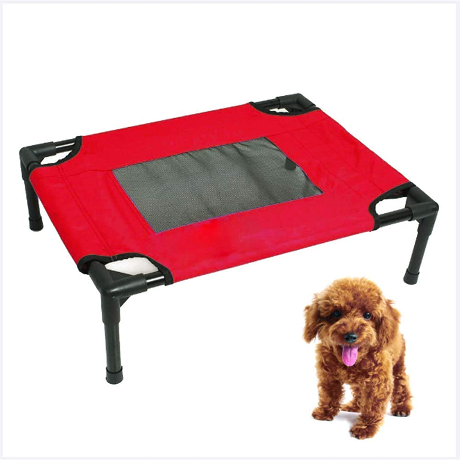 Elevated Dog Bed Comfortable for Any Dog More hygienic Than Padded beds Portable Camping Bed with net,Sturdy Frame Waterproof,Red,76  60  16CM