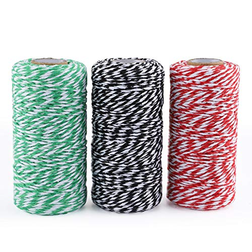 ANWING 3 Roll Cotton Twine 300M Cotton Bakers Black White & Red White & Green White Twine Rope,Christmas String,Heavy Duty Packing String for DIY Crafts Gift Wrapping